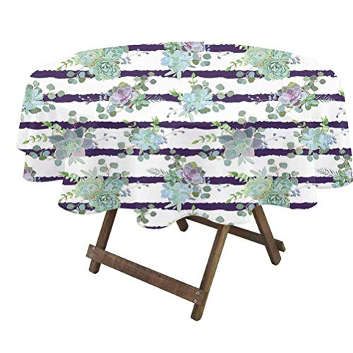 prunushome Succulent Round Table Cover Natural Cactus Pattern in Modern Funky Style Striped Backdrop for Dining Room Party Outdoor Picnic White Almond Green Navy Blue   36' Round