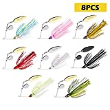 Goture Spinner Baits Bass Lures Blade Bait Spinnerbait Salmon Spinners Fishing Lures for Freshwater 3\/8 oz, 8 Colors, 8 pcs