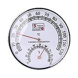 Siwetg - Termómetro de sauna para sauna, caja de metal, termómetro higrómetro para baño y sauna para interiores y exteriores, uso mecánico, temperatura de la mesa, medidor de humedad de 0 a 120 grados