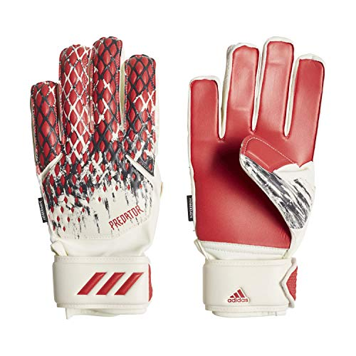 adidas Kinder Predator Fingersave MNJ Torwarthandschuhe, White/Black/Active Red, 6