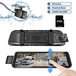 "DUTERI D Mirror Dash Cam Rear View Camera Cars Video Backup Parking WITH 24H's Monitor AND Night Vision G-Sensor Waterproof 170°HD 1080P 9.66"" Full Size Touch Screen"