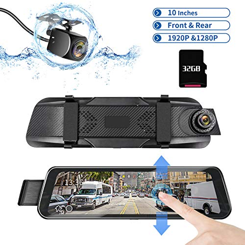 """DUTERI D Dash Cam Rear View Mirror Camera Cars Video Backup Parking 24H's Monitor with Night Vision G-Sensor Waterproof 170°HD 1080P 9.66"""" Full Size Touch Screen"""