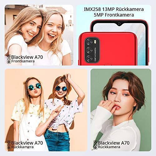 Blackview A70 (E) Android 11 Smartphone ohne Vertrag, 6.517 Zoll HD mit 5.380mAh Batterie, 3GB RAM+32GB Speicher Octa-core, 13MP+5MP Kamera, Fingerabdruck Sensor, 4G Handy Dual SIM Rot - 6