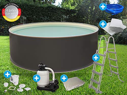 Paradies Pool Premium Edition grau Komplettset 2 rund, 500x120cm (Ø x H), Stahlwandbecken grau, Poolplane Sand 0,6mm Funktionshandlauf grau, inkl. Leiter Pumpe Sandfilter, Swimmingpool, Menge: 1 Stück
