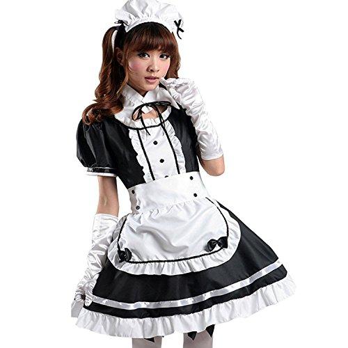 Tzm2016 - Disfraz Lolita para mujer. Disfraz criada francesa para Cosplay. El juego de 4 piezas, incluye: vestido, cofia, delantal, falso cuello, color negro, negro, X-Large