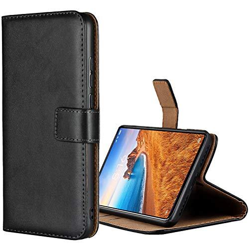Aopan Xiaomi Redmi 7A Hülle, Flip Echt Ledertasche Handyhülle Brieftasche Schutzhülle für Xiaomi Redmi 7A, Schwarz