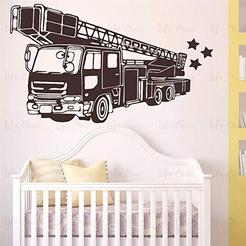 Tianpengyuanshuai brandweerauto zelfklevende muursticker voor woonkamer, slaapkamer, Firetruck, brandblusser, auto, wand, vinyl