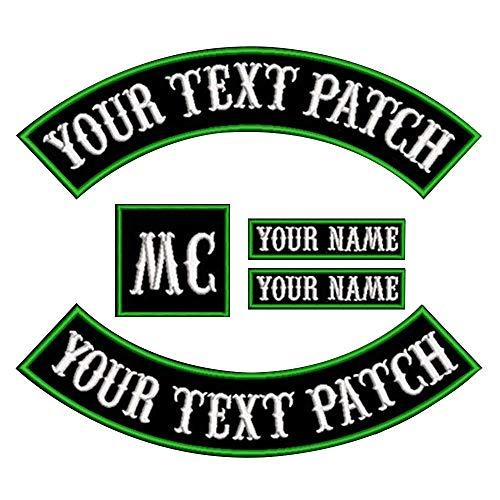 Parche personalizado para chaleco de motorista o moto, parches de nombre para chaquetas (verde sobre negro1)