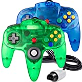 2 Pack Classic N64 Controller, suily Retro N64 Gaming Wired Gamepad Joystick Controller-Plug & Play (Non USB Version)