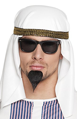 shoperama Set arabischer Öl-Scheich Hut/Tuch Sonnen-Brille Spitz-Bart Araber Orient Kostüm-Zubehör Kopfbedeckung Herren