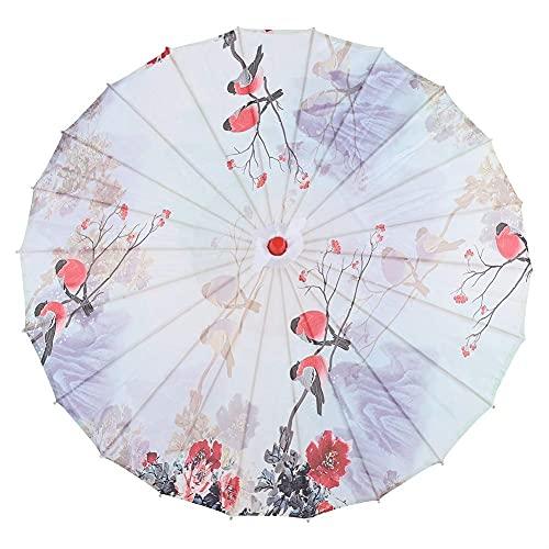 Paraguas de papel, paraguas hecho a mano Paraguas de papel engrasado Arte chino Paraguas de danza clásica Paraguas oriental Parasol con mango de bambú / Mango de madera para tomar fotos / bailar