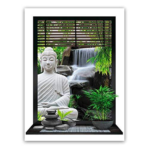 Pegatina de Buda Zen y cascada (50 x 70 cm)