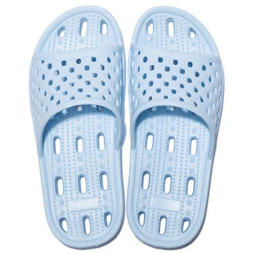Zapatillas de Ducha para Mujeres Antideslizantes Chanclas y Sandalias de Piscina Sandalias de Baño (Azul, 36)