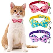 BINGPET Breakaway Bow Tie Cat Collar with Bell - 3 Pack Adjustable Safety Cute Kitty Collars with Detachable Bowtie Fruit Patterns, Lemon, Apple, Grape