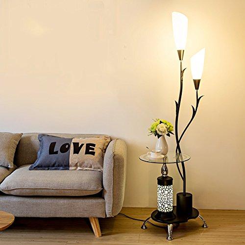 Lampe sur pied salon table basse simple chambre moderne protection des yeux lampe de bureau verticale étude créative lumières de piano (Couleur : Noir)