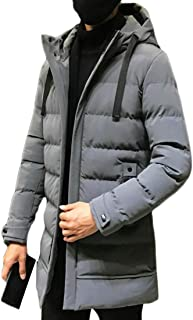 pujingge Men's Fashion Winter Jacket Quilted Hooded Padded Coat Mid Long Outerwear
