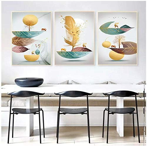 WLKQY Lienzo con plumas doradas y hojas verdes, imagen de arte abstracto moderno, para la decoración del hogar de la sala de estar, 40x80cmx3 sin marco