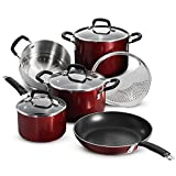 Tramontina 80151/565DS Porcelain Enamel Heavy-Gauge Aluminum Nonstick Cookware Set, 9-Piece, Made in USA, Red Rhubarb