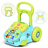 BABY JOY Sit-to-Stand Walker, 2 in 1 Pull and Push Baby Walker w/Detachable Learning Activity Panel, Adjustable Height, Music & Light, Early Development Toys for Toddlers (Blue)