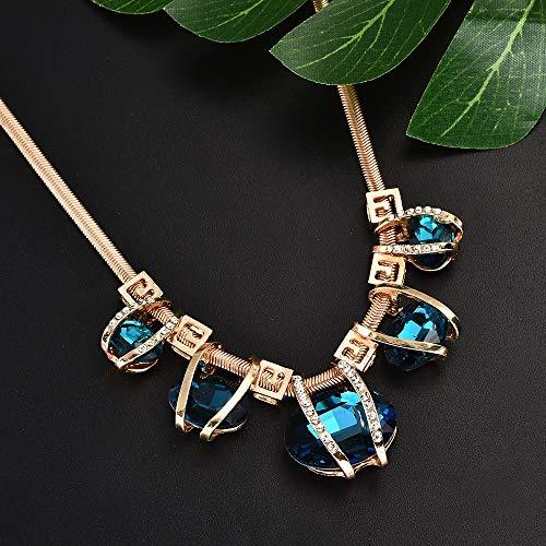 Guiping Collar grande con colgante de cristal azul dorado gargantilla declaración babero collar mujeres joyería moda femme collares