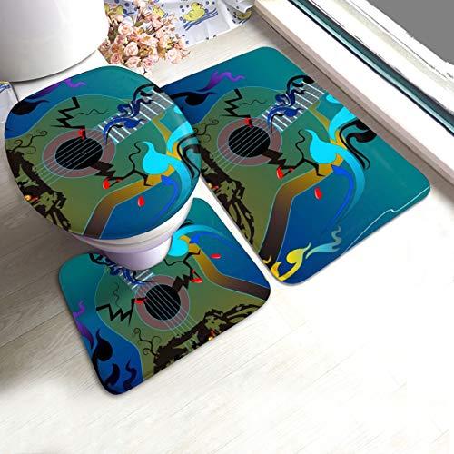 N/R De stem van de schedel Gitaar U-Shaped Toilet 3 Stuk Badmat Set Badkamer tapijten Tapijt Matten Antislip Voor Indoor Contour Tapijt Gepersonaliseerd