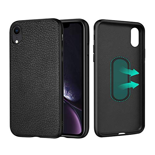 CHANCCI For iPhone XS Case Magnetic Leather Cover Protective Phone Case With Invisible Metal Plate For Magnet Car Holder (DO NOT Support Wireless Charging) - 5.8 inch, Black
