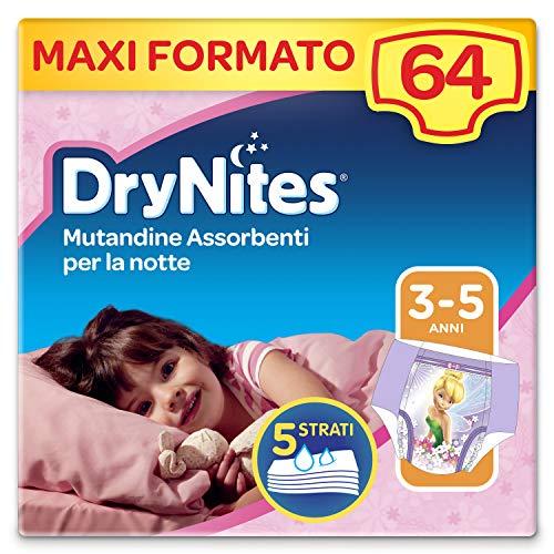 Drynites Mutandine Assorbenti per la Notte per Bambina,  16-23 Kg,  Confezione da 64 pezzi (4 x 16)