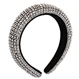 HZEYN Padded Rhinestone Headband Wide Bejewelled Hairband Sparkly Party Headband Hair Accessories for Women (Silver)