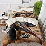 ropa de cama - Juego de funda nórdica, decoración de caza, materiales de caza en rifle de piel Cartucho de municiones Cuchillo vaina Decorati, Juego de funda nórdica de microfibra hipoalergénica con 2