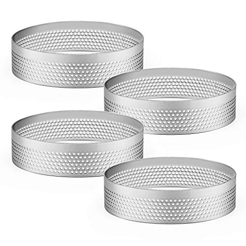 Stainless Steel Perforated tart ring Perforated Cake Mousse Ring round tart rings for baking Dessert Ring Tools Heat-Resistant 4 Pcs 3.15 inch