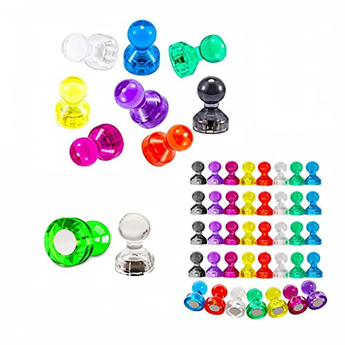 Push Pin Magnets, 50Pcs Refrigerator Magnetic Push Pins,Colorful and Practical Fridge Magnets, 8 Colors Perfect for Whiteboard Magnets, Office Magnets,Strong Map Magnets, Calendar & School Magnets