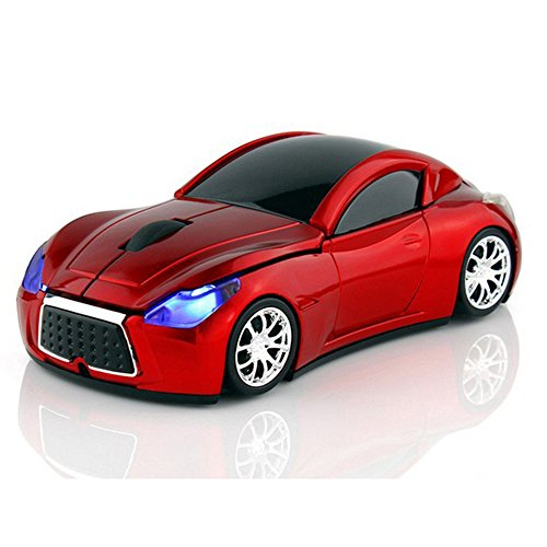 MGbeauty Sports Car Mouse Wireless Mouse Computer Mice Laptop Optical Gaming Mouse Red (Red)