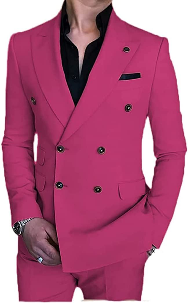 Lolan Formal Men's Suit Slim Fit Double Breasted 2 Piece Business Tuxedos for Wedding Grooms