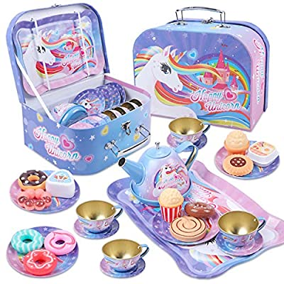 Golray 27Pcs Kids Tea Party Set for Little Girls Unicorn Gift Pretend Toy Tin Tea Set & Carrying Case & Food Sweet Treats Playset, Princess Tea Time Kitchen Pretend Play Tea Set Toys by Golray76