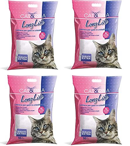 4 Sacchi da 16L Cat&Rina Long Life Lettiera per Gatti in Sil