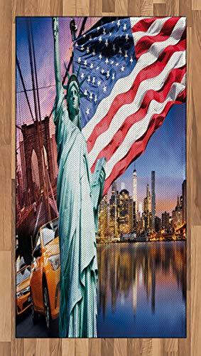 ABAKUHAUS Estados Unidos Alfombra de Área, EE.UU. Concepto Turística, con Estampa Digital Ideal para Sala de Estar o Dormitorio, 80 x 150 cm, Multicolor