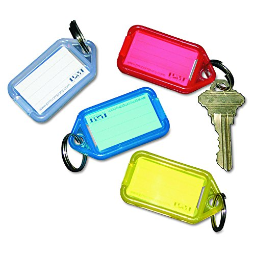 SecurIT 04993 Extra Color-Coded Key Tags for Key Tag Rack, 1-1/8 x 2-1/4, Assorted, 4/Pack