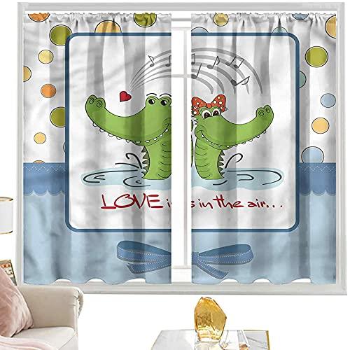 cortinas térmicas Animales, dibujos animados musicales cocodrilos W52 x L95 pulgadas...
