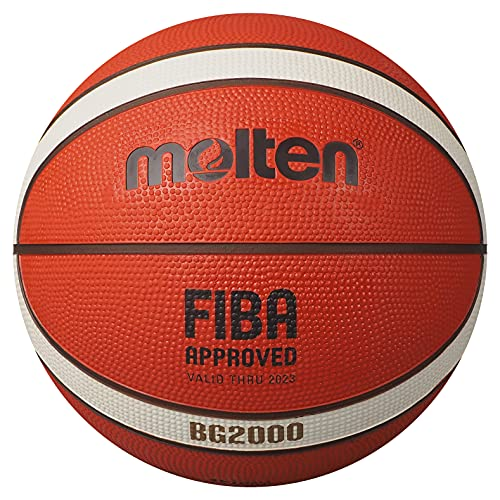 Molten BG2000 Basketball, Indoor/Outdoor, FIBA Approved, Premium Rubber, Size 5, Orange/Ivory, Suitable for Boys Age 7, 8, 9, 10 & 11, Girls Age 12 & 13