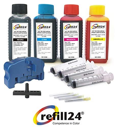 Navulset voor inktpatronen Brother 121, 123, 125XL, 127XL, zwart en kleur, incl. Resetor, adapter en accessoires + 400 ml inkt