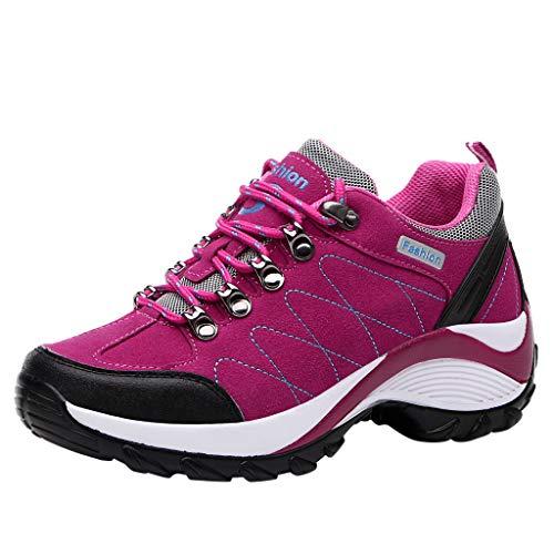 HDUFGJ Damen Trekking-& Wanderschuhe Wanderschuhe Wildleder Outdoor-Schuhe rutschfeste Sneaker Leichtgewicht Laufschuhe Bequem Mode Freizeitschuhe Faule Schuhe Turnschuhe fitnessschuhe40(Pink)