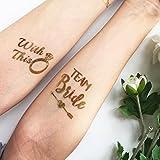 Chileeany Lot de 16 Tatouages Temporaire,Team Bride Tattoos 60x60 mm,avec'Bride' tatouage et'Team Bride' tatouage,motifs variés
