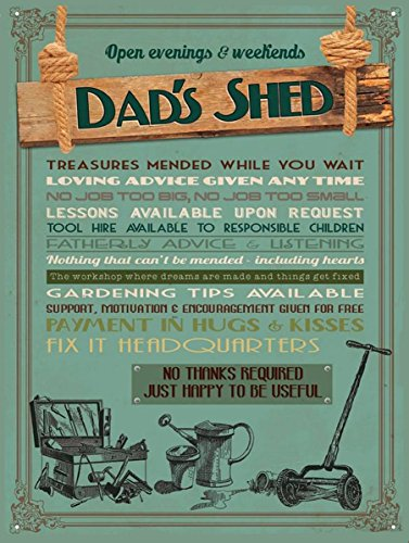 DADS SHED SIGN GIFT FOR FATHERS DAY SHABBY CHIC RETRO METAL TIN WALL PLAQUE SIGN