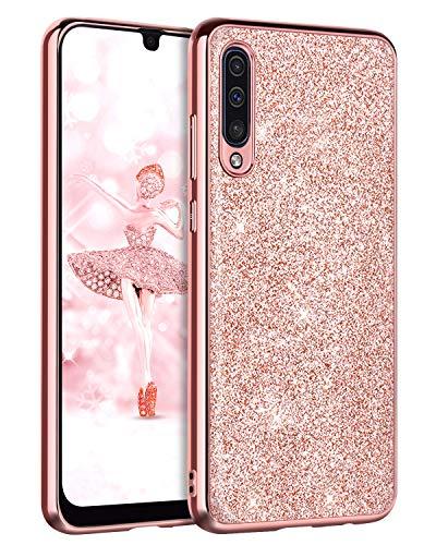 DOMAVER Coque pour Samsung Galaxy A50 Coque pour Samsung Galaxy A50/A50s/A30s Paillettes Slim Robuste Résistant aux Chocs Souple TPU Bumper Coque de protection - Or rose