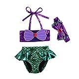 Kids Toddler Baby Girl Mermaid Swimsuits Halter Swimwear Bikini Set with Headband 3Pcs Set (Mermaid, 6-12M)