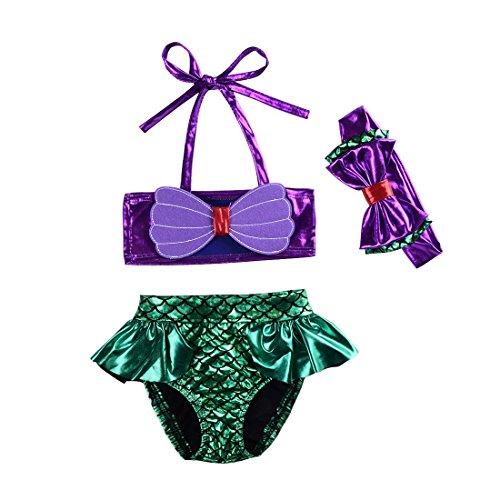 Kids Toddler Baby Girl Mermaid Swimsuits Halter Swimwear Bikini Set with Headband 3Pcs Set (Mermaid, 3-4T)