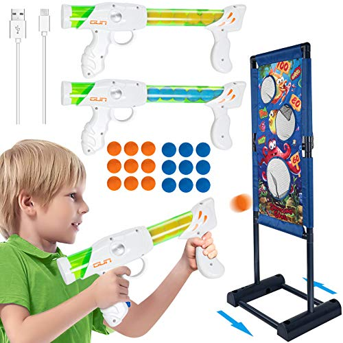 TIKTOK Shooting Games Toys for Boys Kids , Rechargeable Moving Target Shooting Toy with 2 Players , Christmas Stocking Stuffers Birthday Gifts for Kids Toddlers Age 6 7 8 10 13 Years Olds