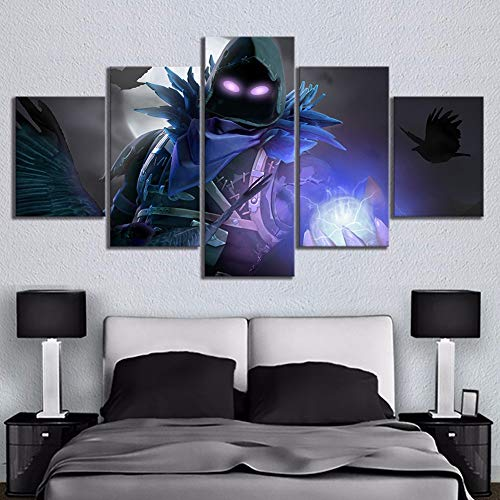 5 stuk Fortnite Battle Royale Kaartvideo Spel Poster Afbeeldingen Landschap Muur kunst Huiskamer Decor canvas Stickers Muurschildering,B,20x35x2+20x45x2+20x55x1