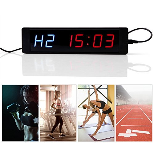 Temporizador de intervalo, 1pc Pantalla LED Temporizador de intervalo programable Reloj de pared con control remoto para entrenamiento físico de gimnasio
