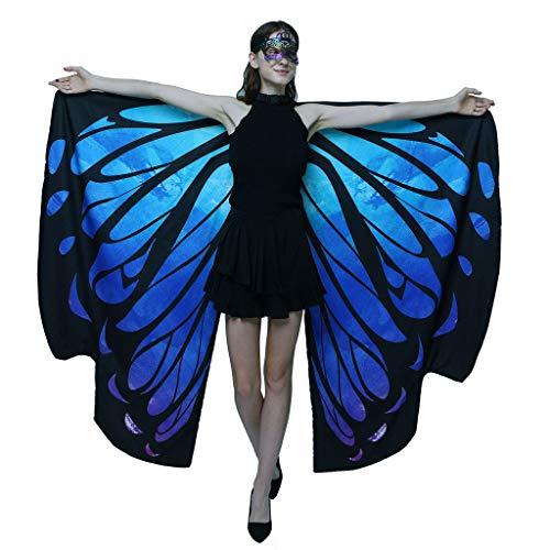 Schmetterling Kostüm Damen Flügel, Riou Erwachsene Schmetterlingsflügel Kostüm Doppelschicht Pixie Nymphe Schal Umhang für Hallowee Karneval Fasching Kostüme Party Cosplay
